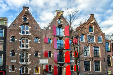 Facade of the beautiful canal houses of Amsterdam
