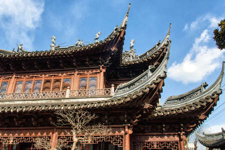 social history: Roofs of Yu Yuan Garden in Shanghai, built in XVII by Ming Dynasty
