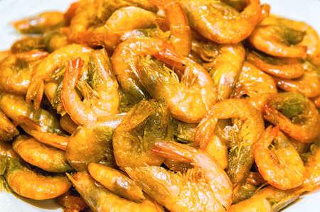 prepared shellfish: Platter full of steamed shrimp.