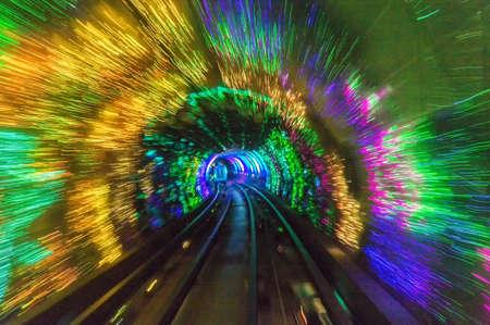 huangpu: Light show inside Bund sightseeing tunnel blurred motion under the Huangpu River, Shanghai, China.