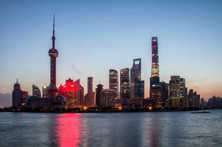 huangpu: Shanghai, China city skyline before Sundawn on the Huangpu River.