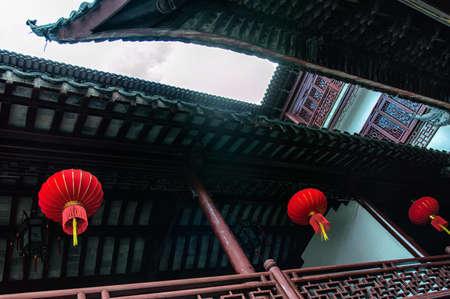 indigenous culture: Lanterns At The Yu Yuan Garden In Shanghai, China Stock Photo