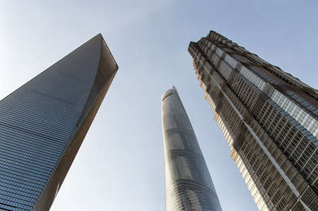 jin mao tower: Looking up at the Jin Mao Tower, the Shanghai World Financial Center, and the Shanghai Tower