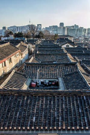 korean ethnicity: roof view of Bukchon Hanok Village Editorial