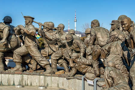 consulted: Yongsan-gu at Seoul, Korea - February 6, 2016: The grounds of the War Memorial of Korea were once the headquarters of the Korean Infantry. Many experts from different fields were consulted numerous times and exhaustive research was done in order to comple