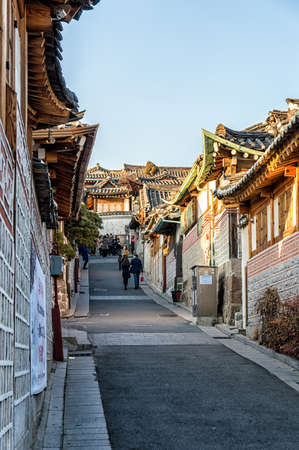 korean style house: Seoul, South Korea - February 6, 2016: Bukchon Hanok Village is a Korean traditional village, The traditional village is composed of lots of alleys, hanok and is preserved to show a 600-year-old urban environment. Now it is used as a traditional culture c