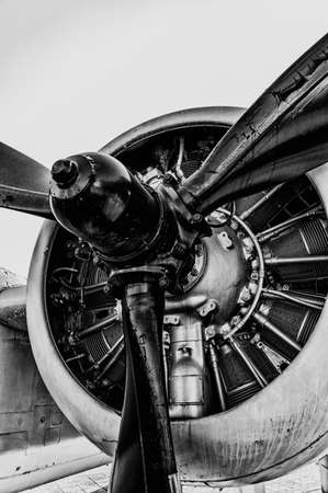 airplane ultralight: Front view of vintage propeller driven airplane Stock Photo