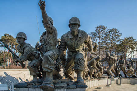Yongsan-gu at Seoul, Korea - February 6, 2016: The grounds of the War Memorial of Korea were once the headquarters of the Korean Infantry. Many experts from different fields were consulted numerous times and exhaustive research was done in order to comple