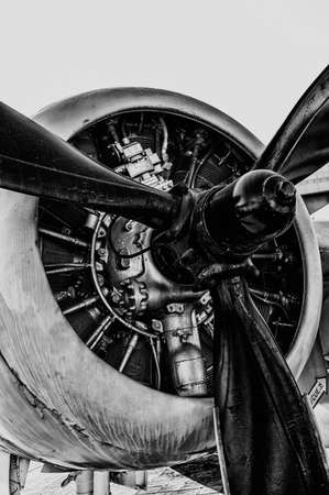 Front view of vintage propeller driven airplane Stock Photo