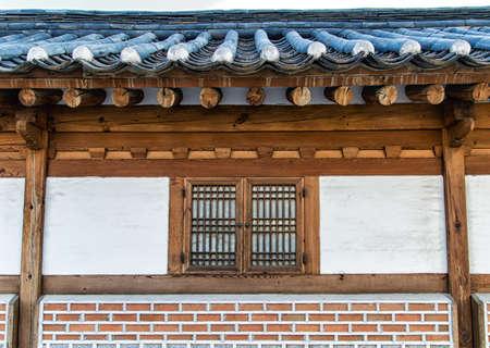 korean style house: wooden window korean style in South Korea. Stock Photo