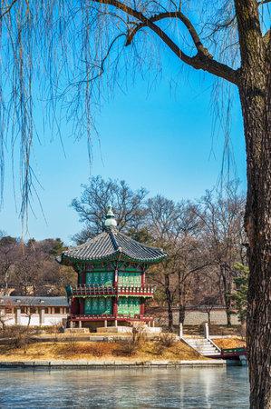 gyeongbokgung: Hyangwonjeong Pavilion at Gyeongbokgung Palace in Seoul, South Korea.