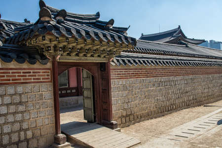 fortified wall: Gyeongbokgung Palace Fortified Wall in Seoul, South Korea Editorial