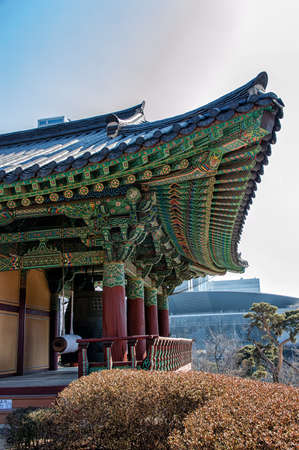 bongeunsa: The ornate architecture of Bongeunsa Temple in Seoul, South Korea.