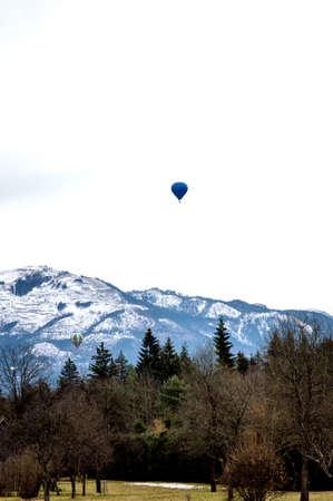 air: Hot Air Balloons in Austria Stock Photo