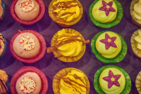 fondant fancy: Different Petite Fours (Small Cakes) as seen from above