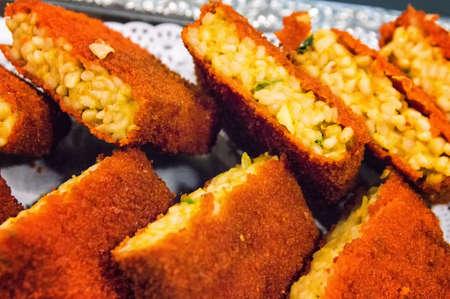 dutch: Nasi Schijf, a typical dutch food snack. Stock Photo