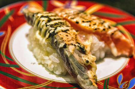 coal fish: Seared salmon nigiri sushi with cheese and mayonnaise Stock Photo