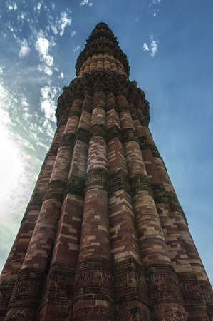 mughal empire: At 72.5 meters (237.8 ft), the Qutab Minar is the tallest brick minaret in the world. The tower is in the Qutb complex at Mehrauli in South Delhi, India. Stock Photo