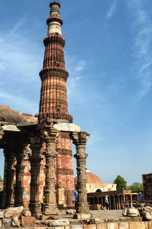 architectural heritage of the world: Architectural UNESCO World Heritage Site Qutub Minar Stock Photo