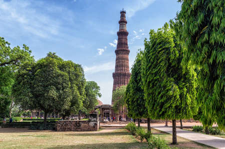 quitab: Qutub Minar Tower It is a 73 m tall victory tower the construction of which was started by qutab-ud-din-aibak in 1193 and completed by his successories. Stock Photo