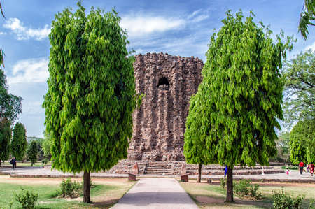 monument in india: Qutb Minar site and second incomplete tower Alai Minar monument in New Delhi, India