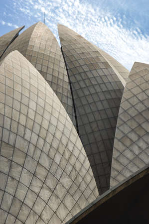 baha: Close-Up of the Bahai Lotus Temple in New Delhi Stock Photo
