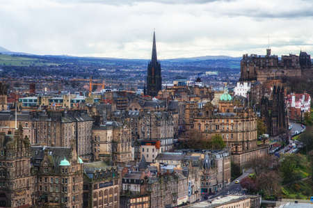 edinburgh background: Old town and castle from Calton Hill