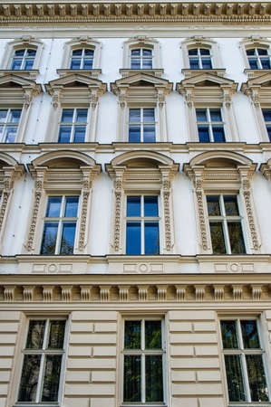 viennese: Traditional viennese houses in Vienna, Austria - detail of a windows