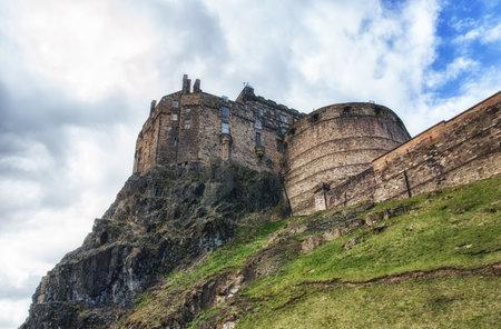 rainclouds: Edinburgh Castle on Castle Rock in Edinburgh, Scotland
