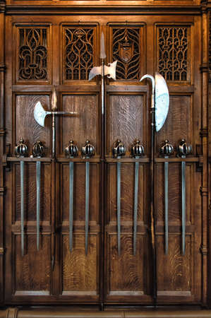 arbalest: The old medieval weapons  on the wall Stock Photo