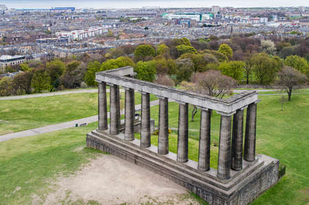 lothian: The unfinished National Monument, built to commemorate the soldiers of the Napoleonic Wars. Situated on Carlton Hill, Edinburgh, overlooking the city.