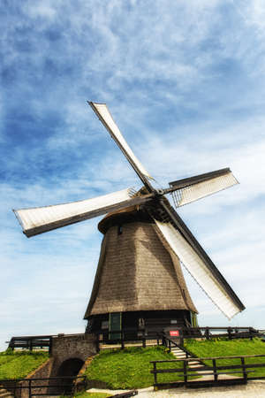 dutch culture: A traditional Dutch windmill on a bright spring day Stock Photo
