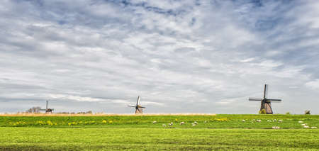 dyke: Windmills on a dyke in a flat landscape, with storm clouds in the background