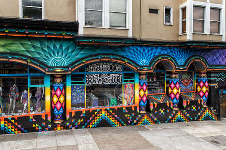ambiance: SAN FRANCISCO, US - May, 05: Colorful stores in Haight Street. Haight Street is the main street of famous Haight-Ashbury District, with its bohemian ambiance