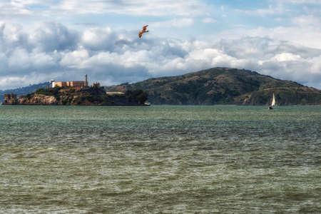 san francisco bay: Alcatraz prison and Alcatraz island in the San Francisco Bay in California, USA Stock Photo
