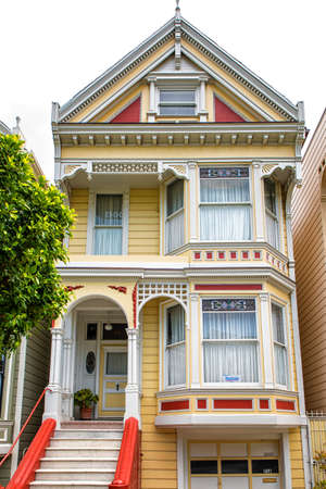 counterculture: San Francisco, California, Usa: close up of one of the Painted Ladies on 5 May 2016. The Painted Ladies are a row of colorful Victorian houses at 710-720 Steiner Street across from Alamo Square park
