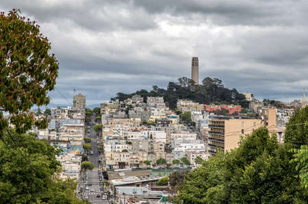 coit tower: Coit Tower viewed from Lombard Street in San Francisco, California