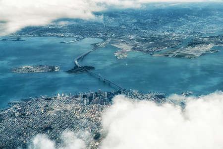 Luftaufnahme von San Francisco und die Bay Area