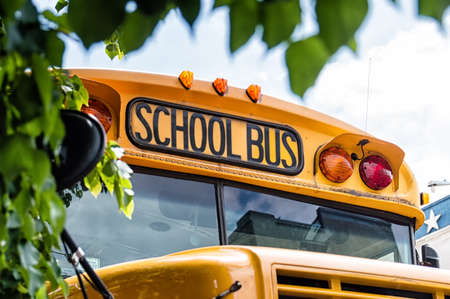 yellow schoolbus: A top front of a school bus Stock Photo