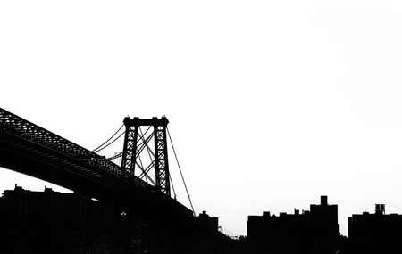 Black and White Silhouette of Manhattan Bridge, New York