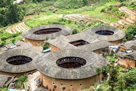 Hakka Tulou logement chinois traditionnel dans la province du Fujian de Chine Banque d'images