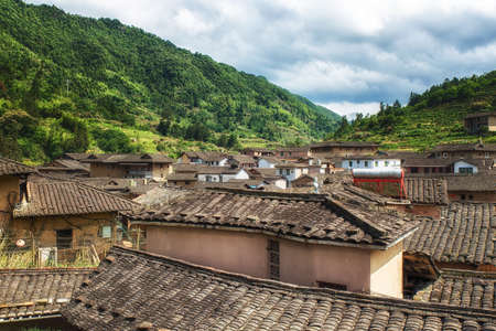 inhabitants: Ancient Taxia village (built in 1426, Ming Dynasty). Its also known as Longeval Village with many inhabitants who older than 80 years Stock Photo