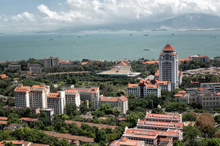 Aerial view of the campus of xiamen university. Stock Photo