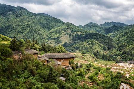 Hakka Roundhouse tulou walled village located in Fujian, China Stock Photo