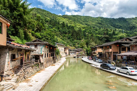 FUJIAN PROVINCE, CHINA - May 28, 2016: Ancient Taxia village (built in 1426, Ming Dynasty). Its also known as Longeval Village with many inhabitants who older than 80 years