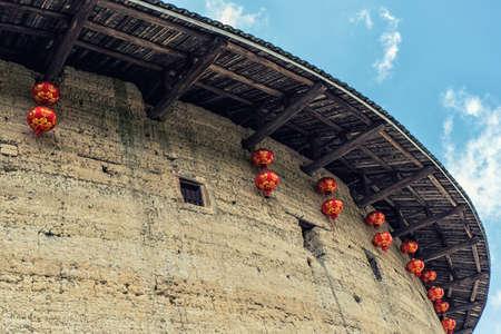 Traditional hakka earthen houses in fujian province, china. classified as world heritage