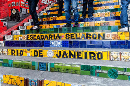 prestigious: Escadaria Selaron famous public steps of artist Jorge Selaron in Rio de Janeiro, Brazil.