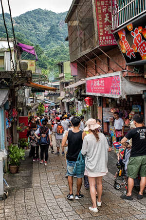 Taipei, Taiwan - July 24, 2016: street view of pingxi old street in taipei. It has the largest train station of Pingxi railway line, and it is developed as a must-see attraction in Taiwan.