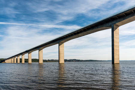 get across: The Vejle Fjord bridge leads traffic outside from the local town, Vejle, and shortens the trip with 10 minutes