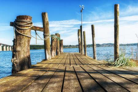 wooden jetty on lake Veije, Denmark
